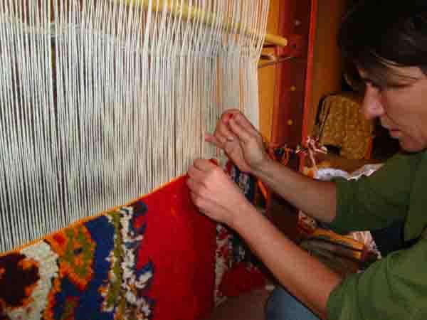 Atelier de tissage de tapis berbère
